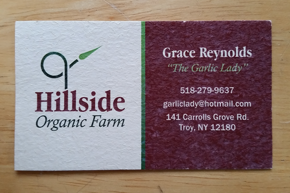 Hillside Organic Farm business card